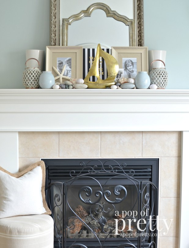 Nautical decor - summer mantel