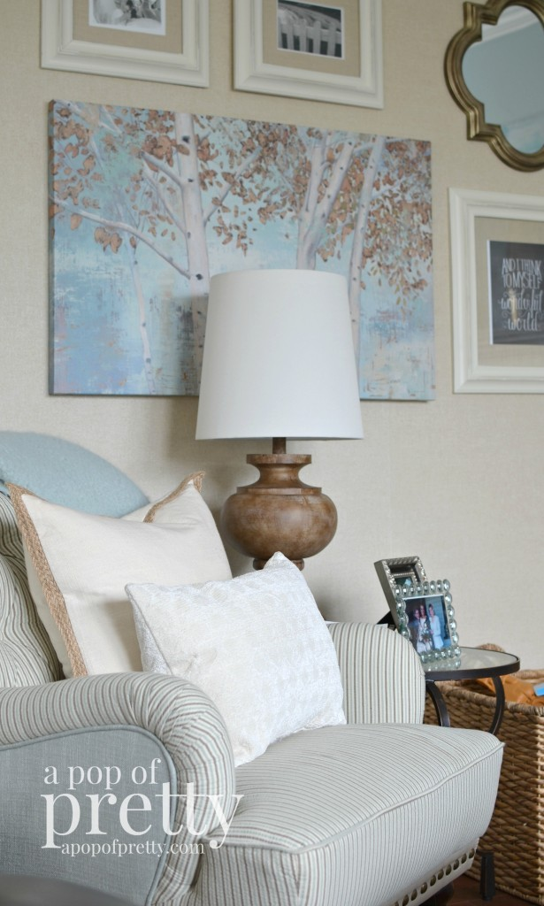 Canadian Bloggers Home Tour - a pop of pretty - TV room gallery wall