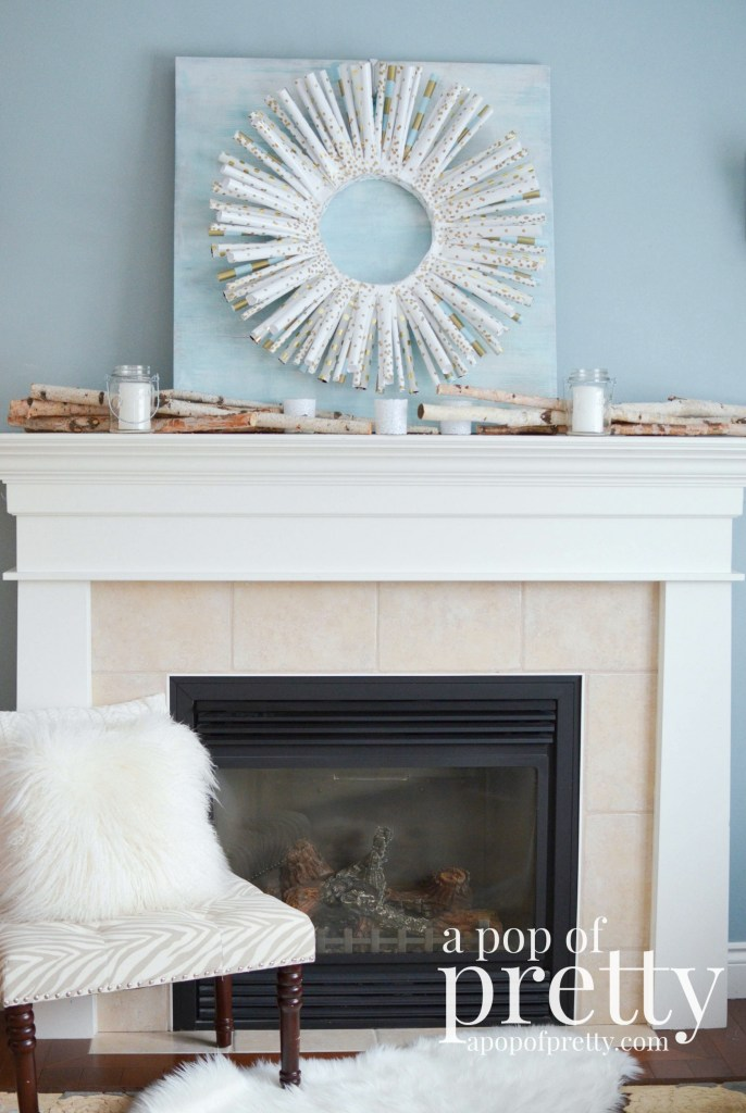 wrapping paper wreath winter mantel