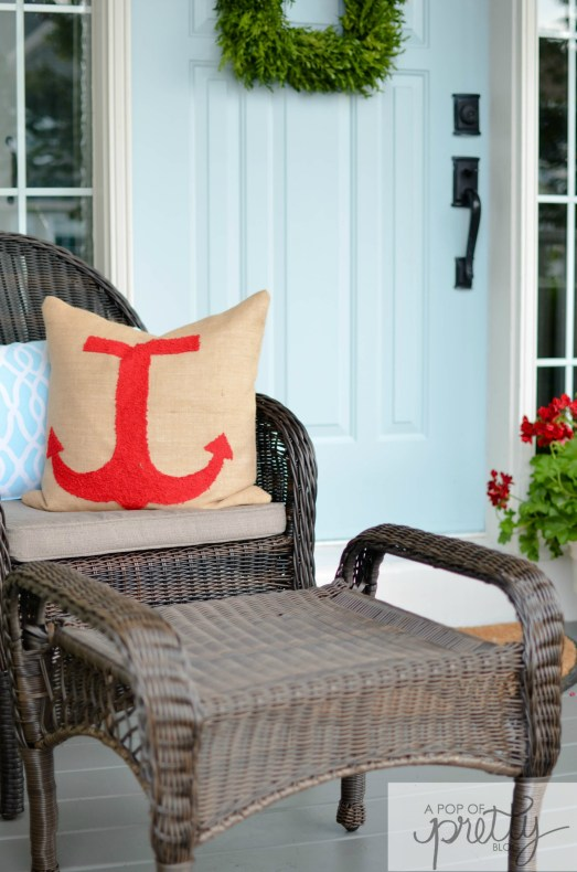 nautical decor - anchor pillow