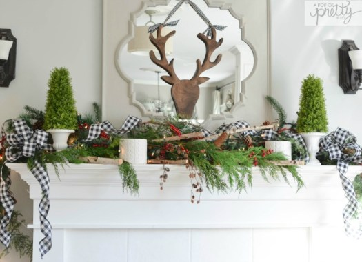 Decorated Christmas fireplace buffalo plaid ribbon