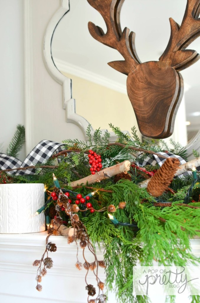cottage Christmas mantel red plaid