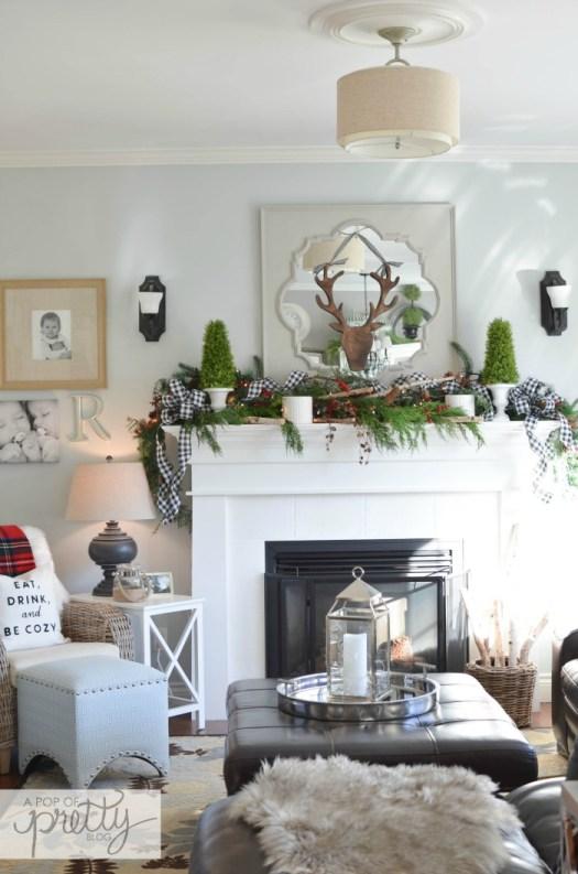 Red Plaid Christmas Decor Ideas - Fireplace Mantel