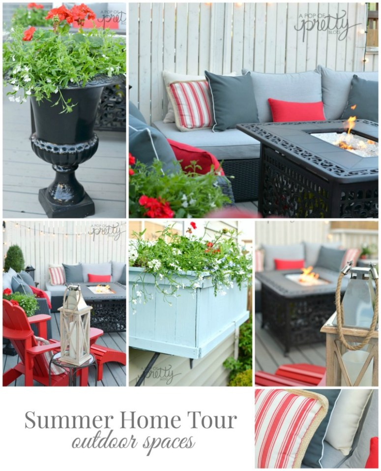 Pinterest Collage A Pop of Pretty - Summer Home Tour - Outdoor Spaces