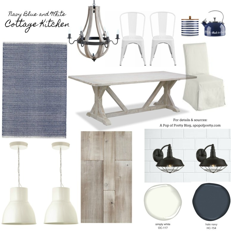 navy and white kitchen decor mood board 1