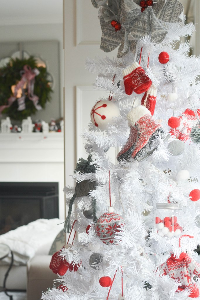 Red grey white Nordic Christmas decor