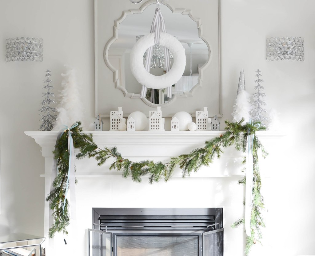 Simple White Christmas Home Tour 2018 Mantel - A Pop of Pretty Blog