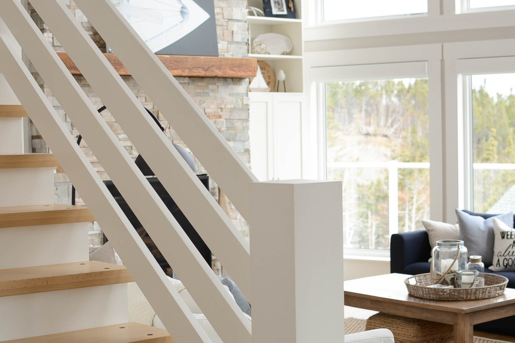 Coastal style cottage staircase fence handrail