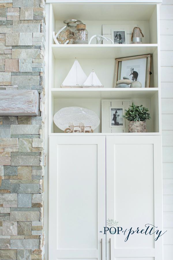 Shelf styling with a coastal vibe