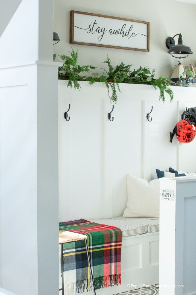 Christmas decor mudroom