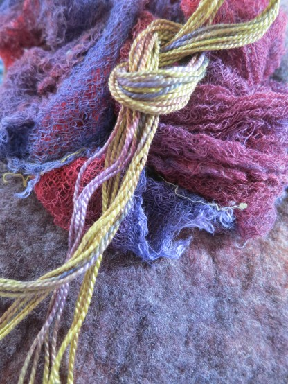 Part of a morning's work. Packing supplies for our shop. All hand dyed, of course.