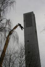 Abrissarbeiten am Turm der Apostelkirche © Beate Sachs