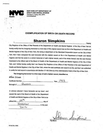 Example of exemplification letter from NYC Department of Health