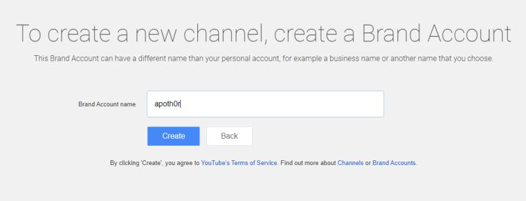 YouTube - Brand Account