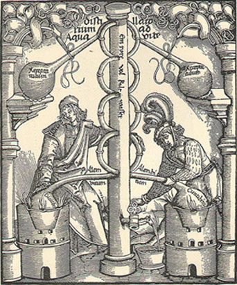 Alchemists, Apothecarys at work. Old woodcut.