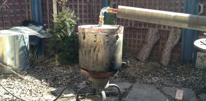 Simple homemade multipurpose  pot still with air-cooled condenser.