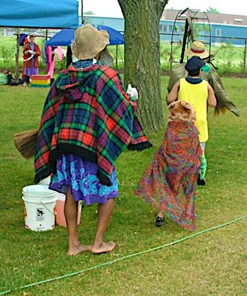 Artist and children-Under the Willows