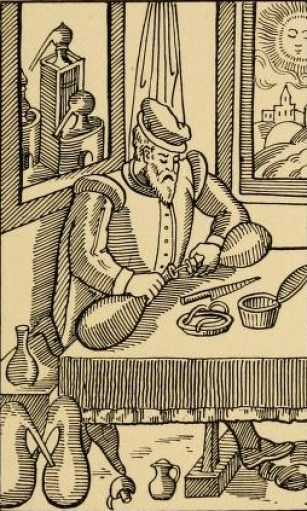 Alchemist applying lute, (gasket putty), to seal distillation vessels. Some things don't change.