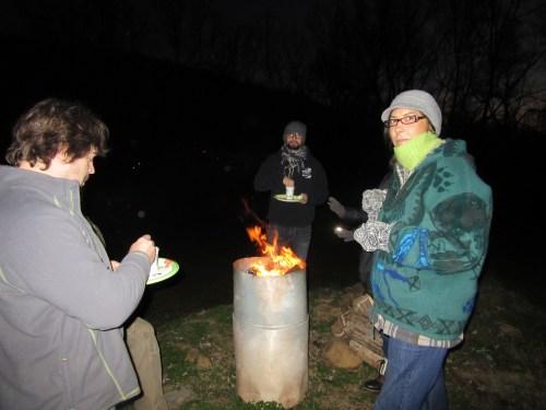 Burn barrel before the lighting