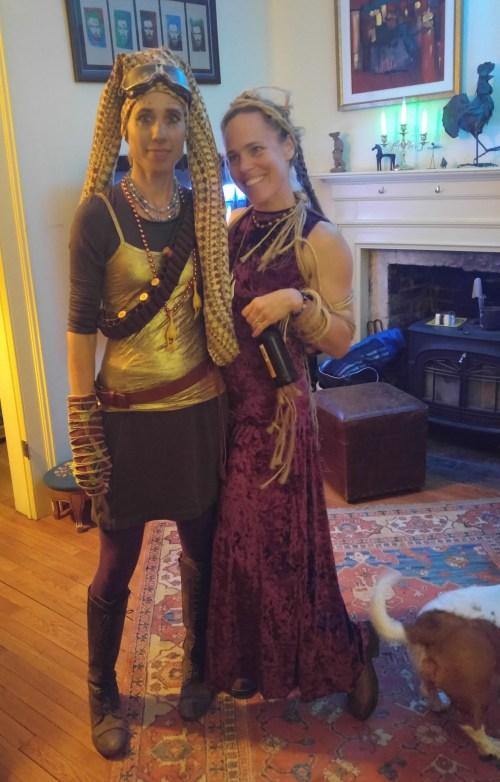 Amy as Twi'lek and Jen as Jabba's slave girl
