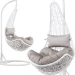 Swing Patio Egg Chair Rattan Garden Hanging Cushion Cover Indoor Outdoor White Ebay