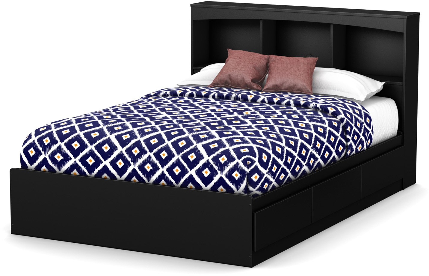 Details About Modern Black Wood Headboard With Bookcase Storage Shelf For Full Size Bed Frame