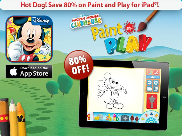 for 12 hours only disney s 39 mickey mouse clubhouse paint play 39 ipad app is 99 80 off. Black Bedroom Furniture Sets. Home Design Ideas