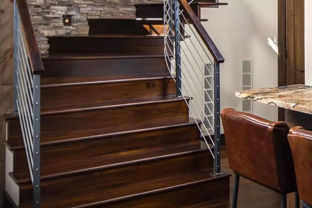 Stair Parts Appalachian Lumber   Hardwood Steps And Risers   Brown Stair   Carpet Tread   Bullnose   Maple   Dark Wood