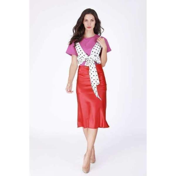 Dream In Silk Red Mid-Length Skirt