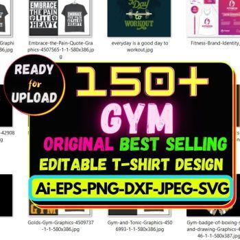 150+GYM Best Selling T-shirt Design Bundle Cheap Price