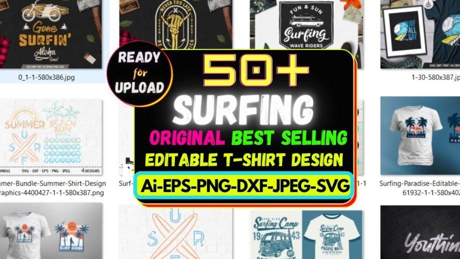 50+Surfing Best Selling T-shirt Design Bundle Cheap Price