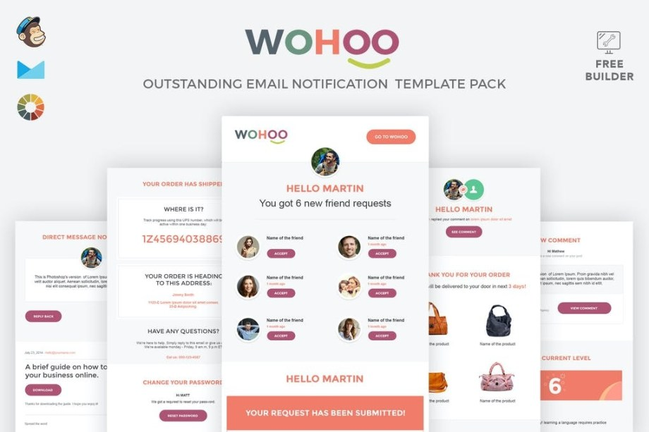 Best WOHOO - Beautiful Email Notifications Template Cheap Price