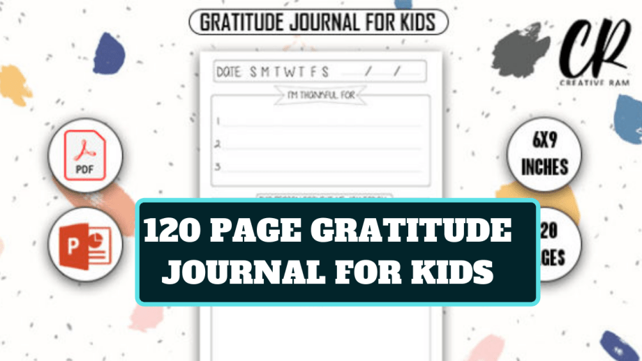 120 Page Ready Gratitude Journal For Kids For KDP