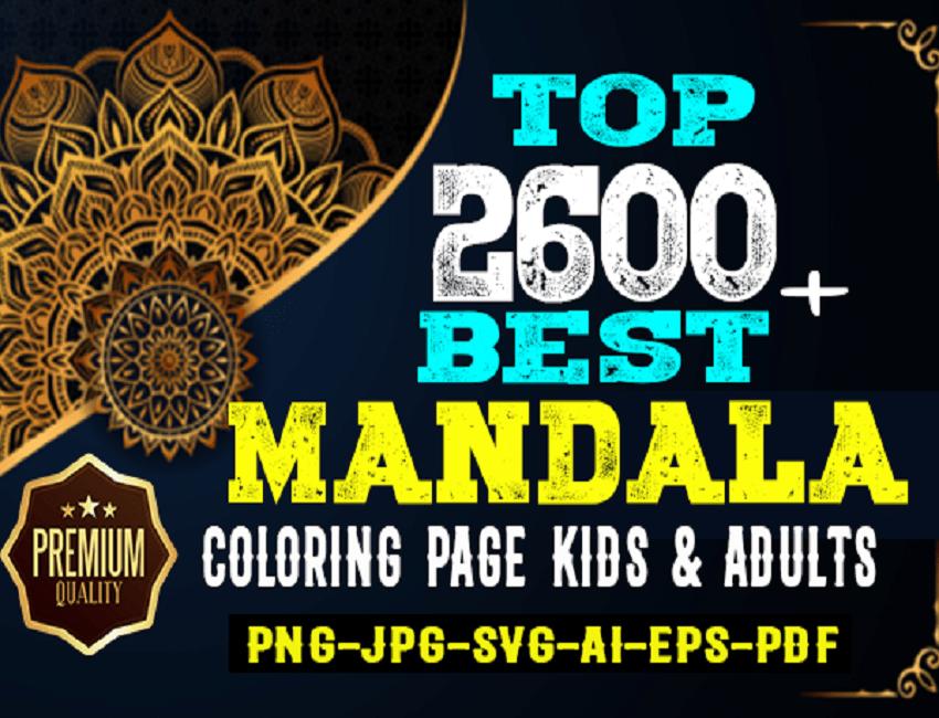 2600 High Quality Premium Mandala Coloring Page Cheap Price