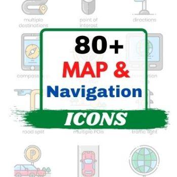 80+Map & Navigation Icons Bundle Cheap Price