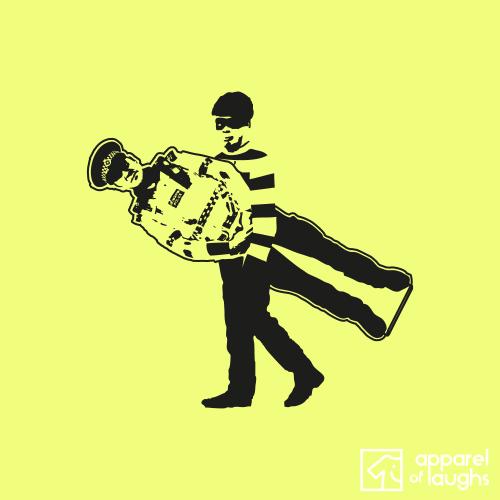 Cardboard Cop Graffiti T-Shirt Design Cornsilk