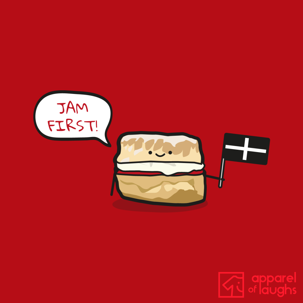 Jam First Scone Cornwall T-Shirt Design Red