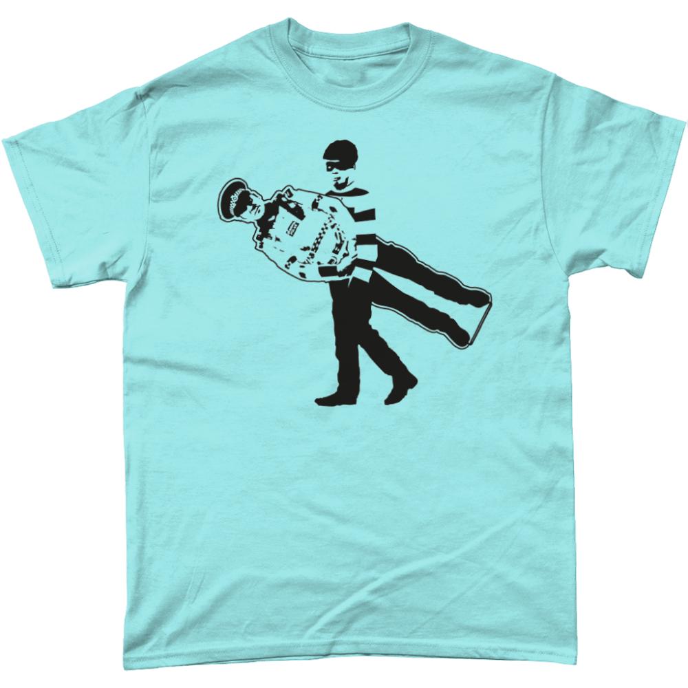 Cardboard Cop Policeman T-Shirt Design Light Blue