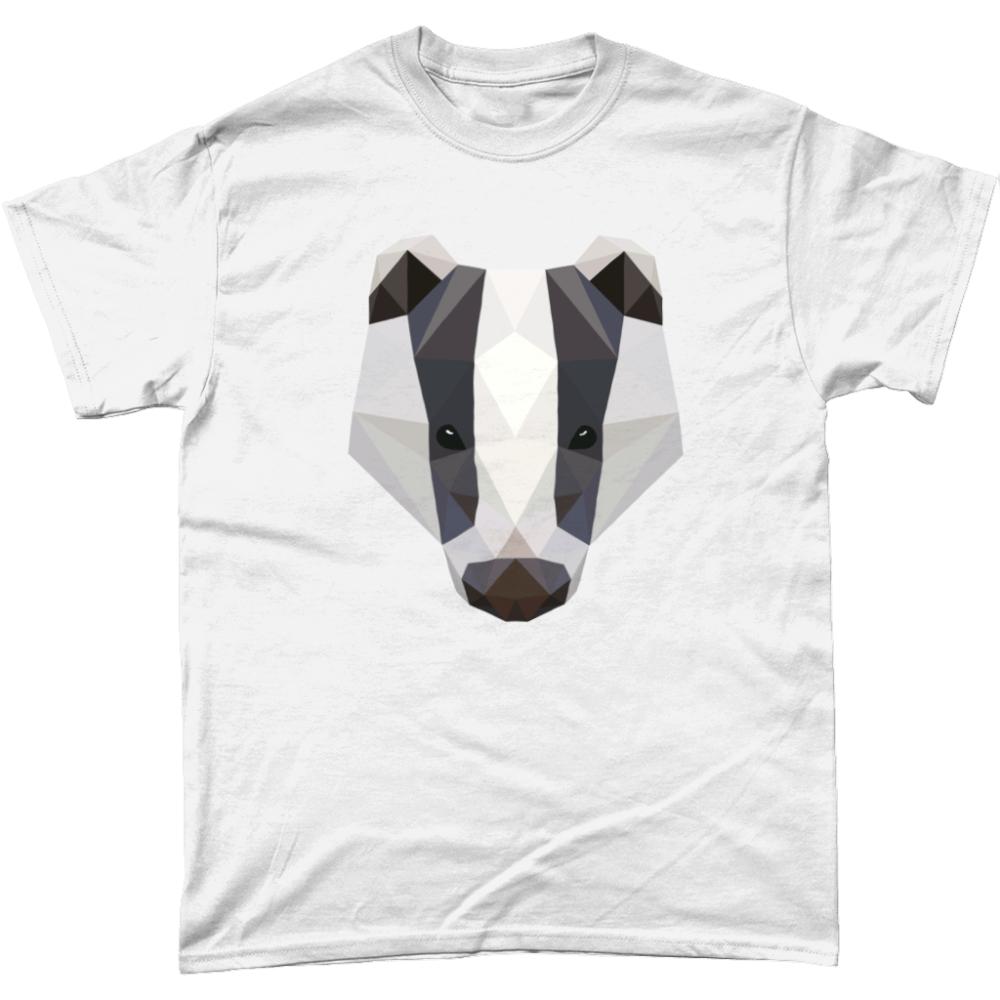 Low Poly Badger T-Shirt Design White