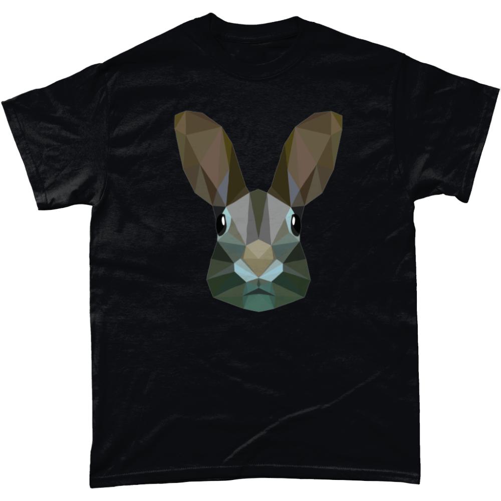 Low Poly Rabbit T-Shirt Design Black