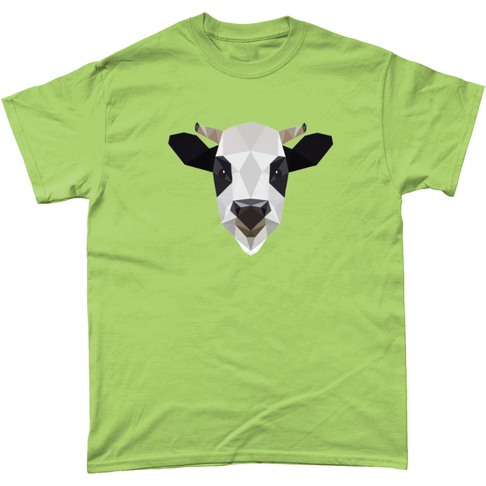 Low Poly Cow T Shirt Design Light Kiwi