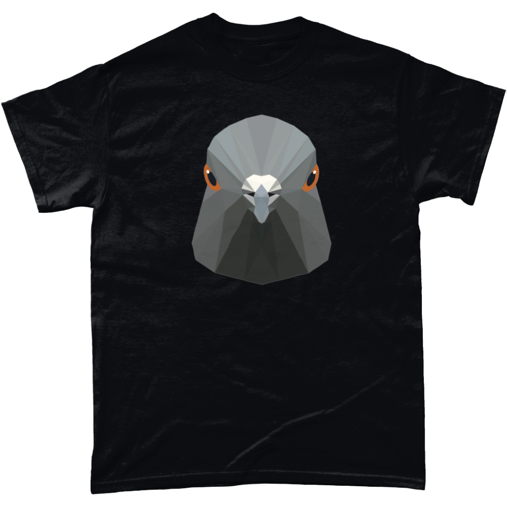 Low Poly Pigeon T Shirt Black