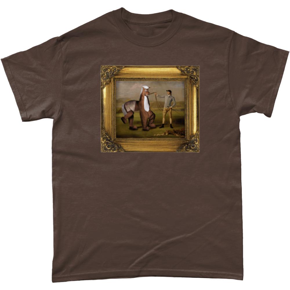 Panto Horse Painting T Shirt Dark Chocolate