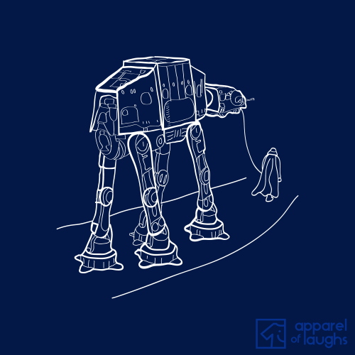 Walkies Star Wars AT-AT T Shirt Design Navy