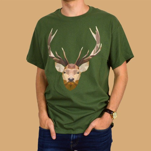 Low Poly Stag Animal T Shirt Design