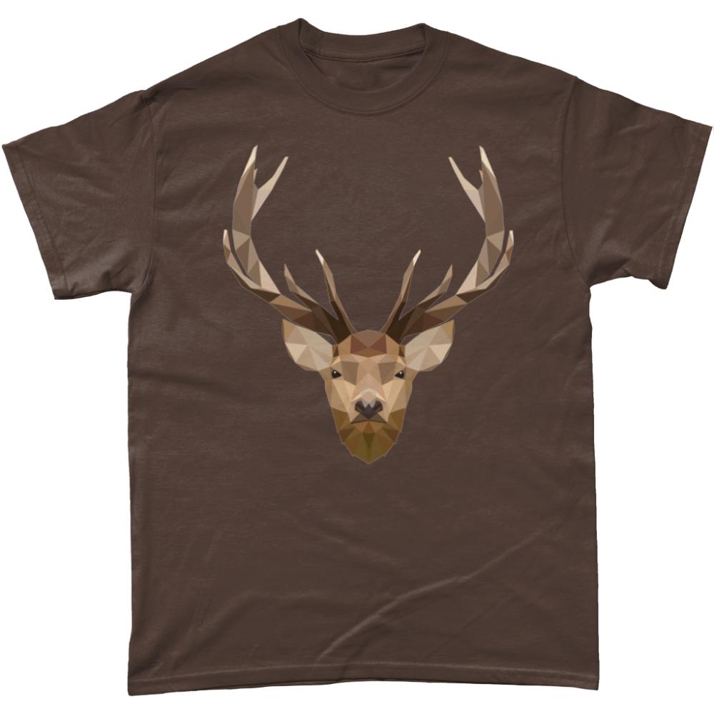 Low Poly Stag British Wildlife Dark Chocolate T-Shirt Design