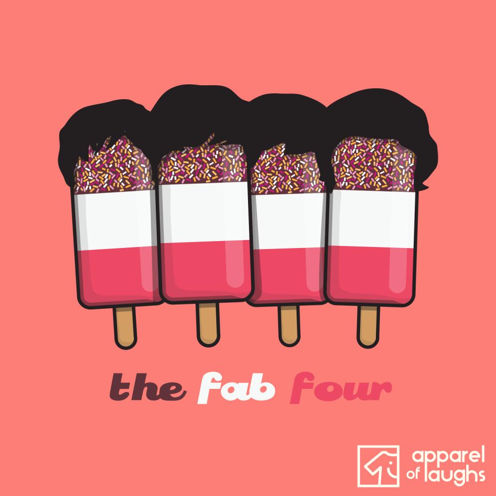 Fab Four 4 Beatles Ice Cream Lolly T-Shirt Design Orange Heather
