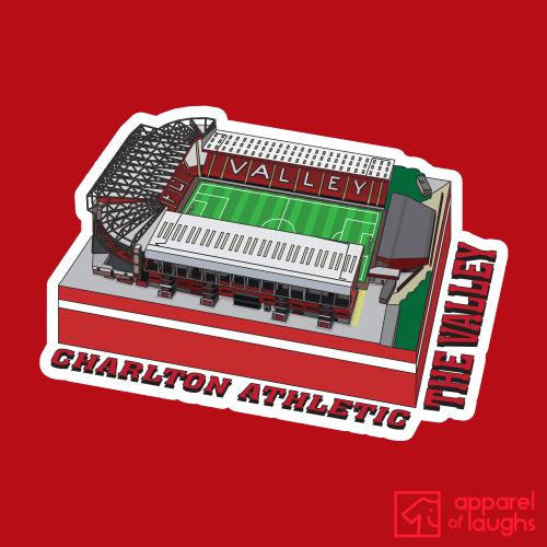 Charlton Athletic The Valley Football Stadium Illustration T Shirt Design Red