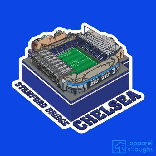 Chelsea Stamford Bridge Football Stadium Illustration T Shirt Design Royal Blue