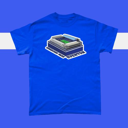 Everton Goodison Park Football Stadium Illustration Men's T-Shirt Royal Blue